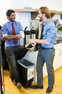 Coffee grounds are a significant component of office food waste & the worms love them!